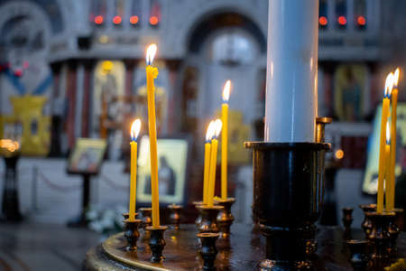 candles in the Church Christianity is a religion Banco de Imagens