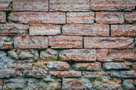 old brick wall coral color retro Imagens