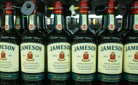Tyumen, Russia - avg 25, 2019: Products of hypermarket sale jameson beverages in the metro store cash and carry