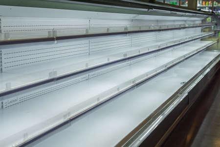 empty shelves in the store no goods Banco de Imagens