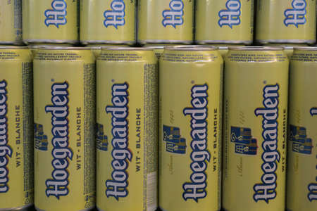 Tyumen, Russia - avg 25, 2019: Hoegaarden beer sell beer at the store Metro