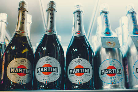 Tyumen, Russia - avg 25, 2019: Products of hypermarket sale Martini champagne alcohol beverages in the metro store cash and carry