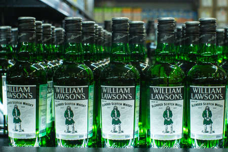 Tyumen, Russia - avg 25, 2019: Products of hypermarket sale William Lawson beverages in the metro store cash and carry