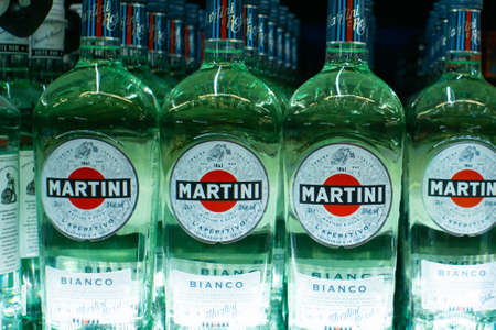 Tyumen, Russia - avg 25, 2019: Products of hypermarket sale Martini beverages in the metro store cash and carry 新闻类图片