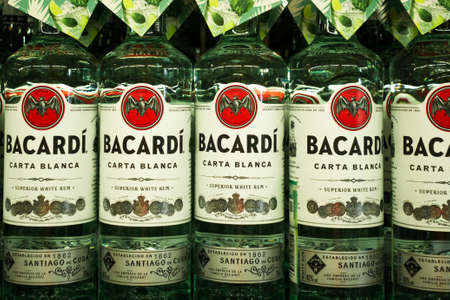 Tyumen, Russia - avg 25, 2019: Products of hypermarket sale Bacardi beverages in the metro store cash and carry 新闻类图片