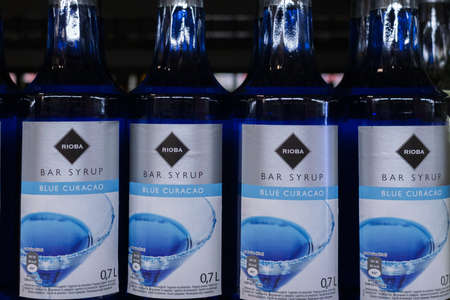 Tyumen, Russia - avg 25, 2019: Products of hypermarket sale syrup Rioba beverages in the metro store cash and carry