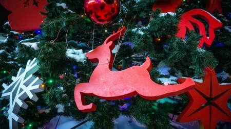 Christmas deer decoration on Christmas tree