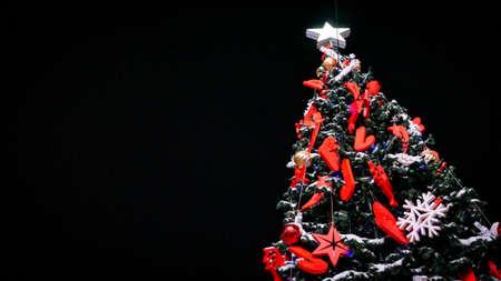 Christmas tree tree on black background Banco de Imagens