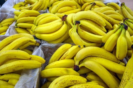 ripe bananas on the counter selling fruit