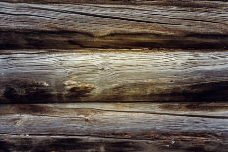 Old wooden log house wall background texture