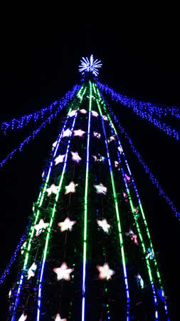 Natural fir tree with colorful Christmas decorations LED strip light against night sky. Selective focus