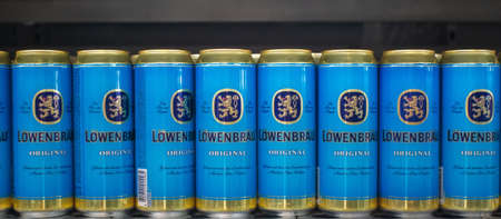 Tyumen, Russia-November 05, 2019: Lowenbrau, can of beer. Lowenbrau is a brewery founded in Munich around 1383, its name means lions brew in German.