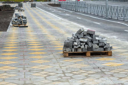 construction of roads reconstruction of the sidewalk. Preparation for construction arrangement of the city 스톡 콘텐츠