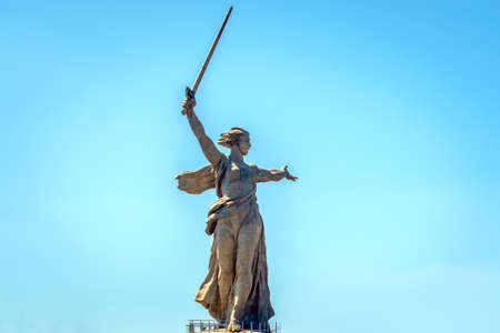 Volgograd, Russia-May 30, 2019: monument Motherland in Volgograd, on the background of blue sky Sajtókép