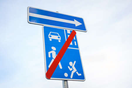 Traffic sign crossing prohibited, travel prohibited repair work Banco de Imagens