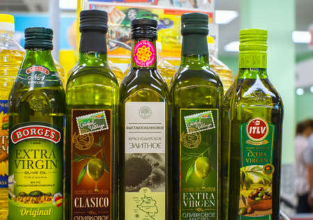 Volzhsky, Russia-September 10, 2019: Sale of olive oil on the shelves of the store Pyaterochka