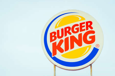 Tyumen, Russia - October 03, 2019: logo of the fast food chain Burger King. Burger King is a global chain of hamburger fast food restaurants