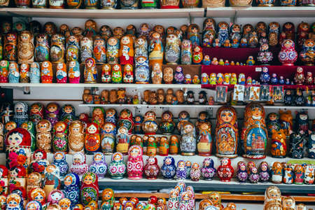 matryoshka dolls many Russian Souvenirs sale background