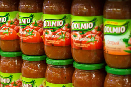 Tyumen, Russia - October 14, 2019: Dolmio is a traditional Italian tomato sauce on the shelves of a hypermarket