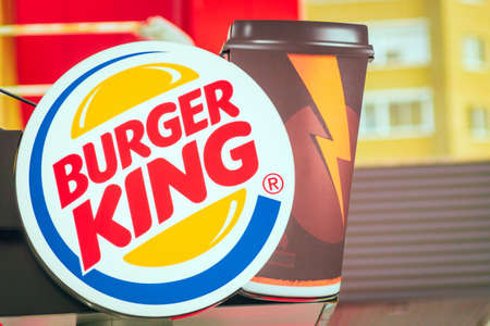 Tyumen, Russia - October 03, 2019: Burger King, often abbreviated as BK, is a global chain of hamburger fast food restaurants,United States. Fast food chain Sajtókép