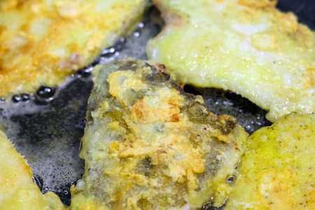Fried flatfish, flounder baked in a pan
