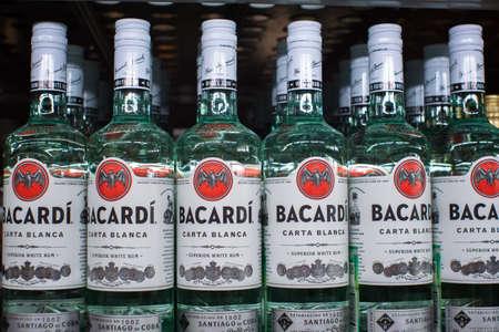 Tyumen, Russia-November 05, 2019: Bottle of Bacardi Carta Blanca Superior Brand White Rum in a supermarket
