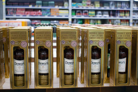 Tyumen, Russia - November 20, 2019: Scotch, whiskey, 12 year old sale of alcoholic beverages Dewar's