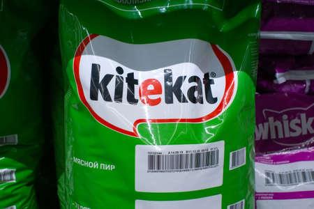 Tyumen, Russia - November 20, 2019: sale of cat food kitekat . Sale of goods, hypermarket metro Editöryel