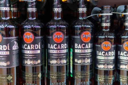 Tyumen, Russia-may 04, 2020: Bacardi Superior Carta Blanca and Carta Negra rum bottles. Bacardi Limited is sells more than million bottles. Editorial