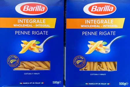 Tyumen, Russia-may 17, 2020: box of Pasta Barilla. Barilla produces several kinds of pasta. Imagens