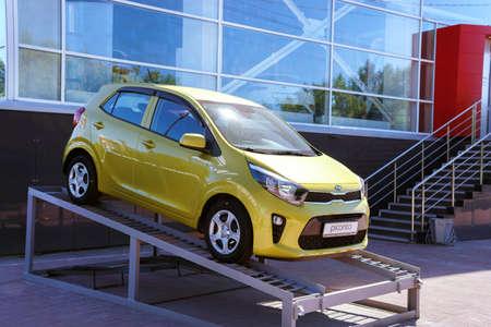 Tyumen, Russia-June 09, 2020: Kia Picanto car sale of a new car near the KIA dealership