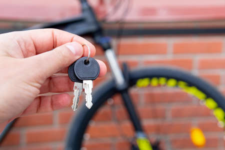 keys to the Bicycle lock. the concept of protecting the bike from theft