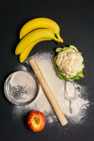 bananas Apple cauliflower for cooking flour from vegetables. top view of flat lay