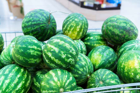 ripe watermelons on the shelves of a hypermarket 免版税图像 - 151881952