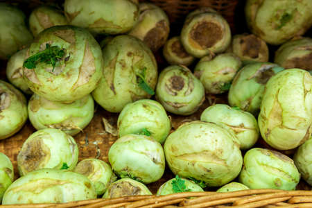 celery root on display at a local farmers market. sale of healthy vegetables and dietary products. selective focus 免版税图像