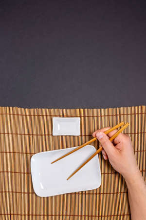 empty sushi plate, with space for text, freespace, mockup. vertical photo 免版税图像