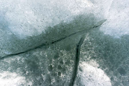 ice texture outdoors with snow, on a river or lake in winter