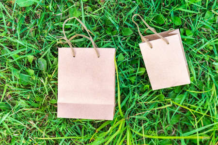paper bag of kraft paper on a green background with space for copying text. mockup 写真素材