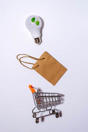 concept eco close up lightbulb. buying environmental electricity, on a white background