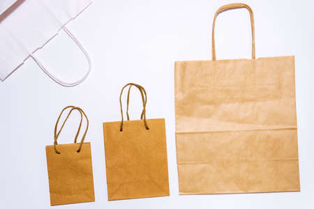 paper bag on a white background. Template for packaging a collection of layouts. template mock up fast food.