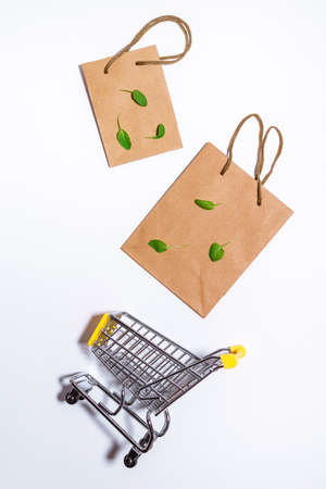 Paper craft bag Responsive design mockup. Flat lay, top view. Recycled paper shopping bag, copy space. Eco shopping concept.