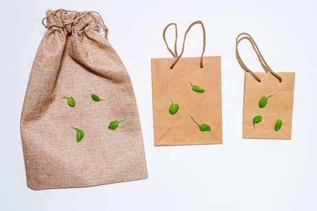Brown Empty Kraft Paper Bags on white background. Packaging template mockup. Top view package 写真素材