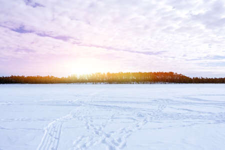 morning at sunrise, dawn in early winter landscape. Blue sky place for text, copy space.
