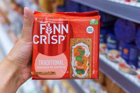 Tyumen, Russia-August 01, 2020: Finn Crisp thin sourdough rye bread finn crisp is included in Lantmannen cerealia 報道画像