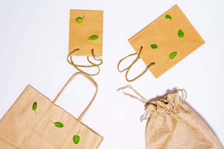 eco-friendly paper bag for shopping in hypermarkets on white. top view 写真素材