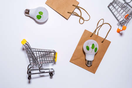 Eco concept - Energy saving LED bulb white background and area for copy space. The view from the top, flat lay 写真素材