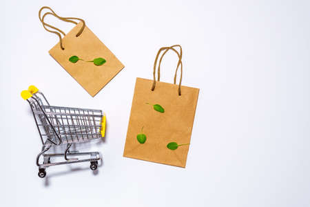 mini shopping cart, eco-friendly paper bag for shopping in hypermarkets on white. top view 写真素材