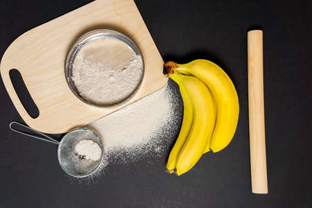 bananas flour Gut health, keto, ketogenic, low carb diet, gluten free, planted based vegan food 写真素材