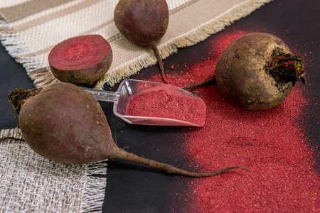 beetroot flour powder. gluten-free vegetable flour, healthy food, vegetarian food Reklamní fotografie