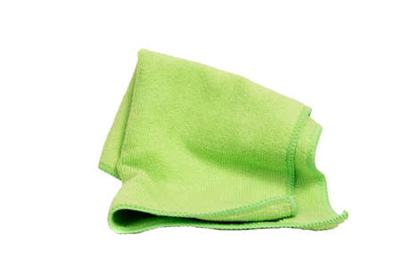 Green microfiber towel cleaning cloth isolated on white background